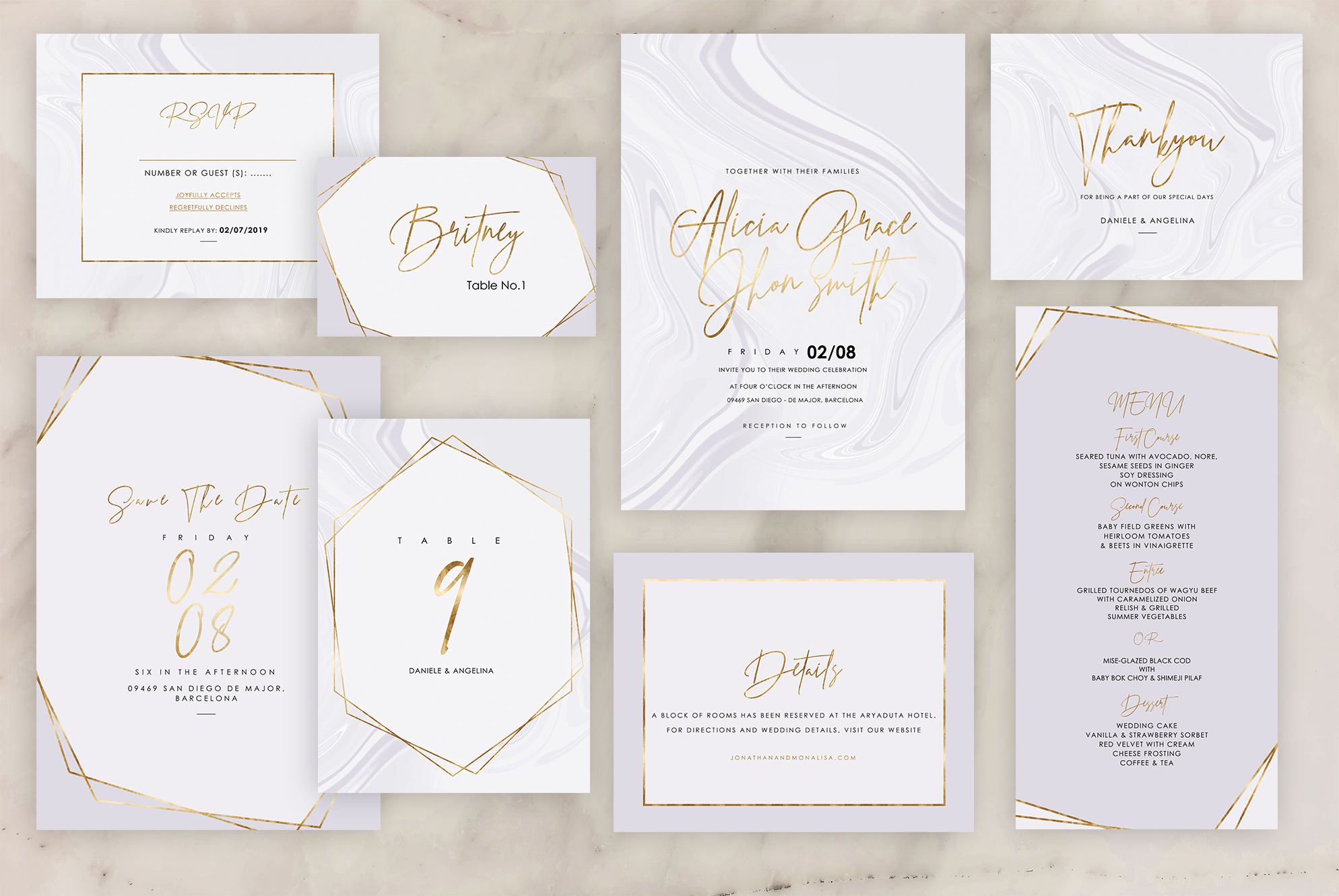 Marble Wedding Invitation - 6 Collections example image 10