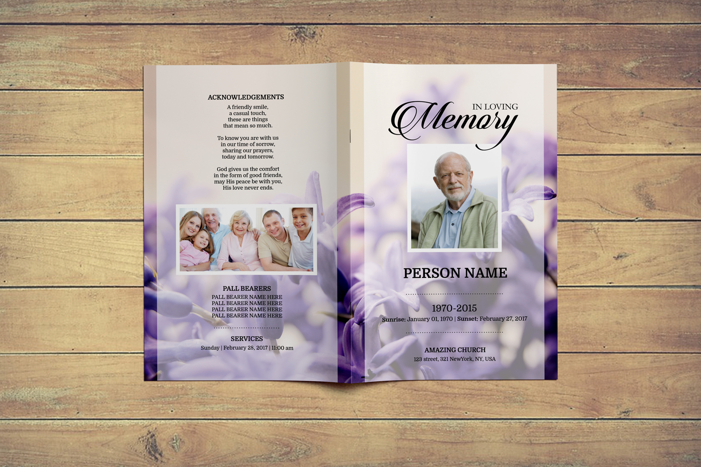 Levendar Funeral Program Template example image 2