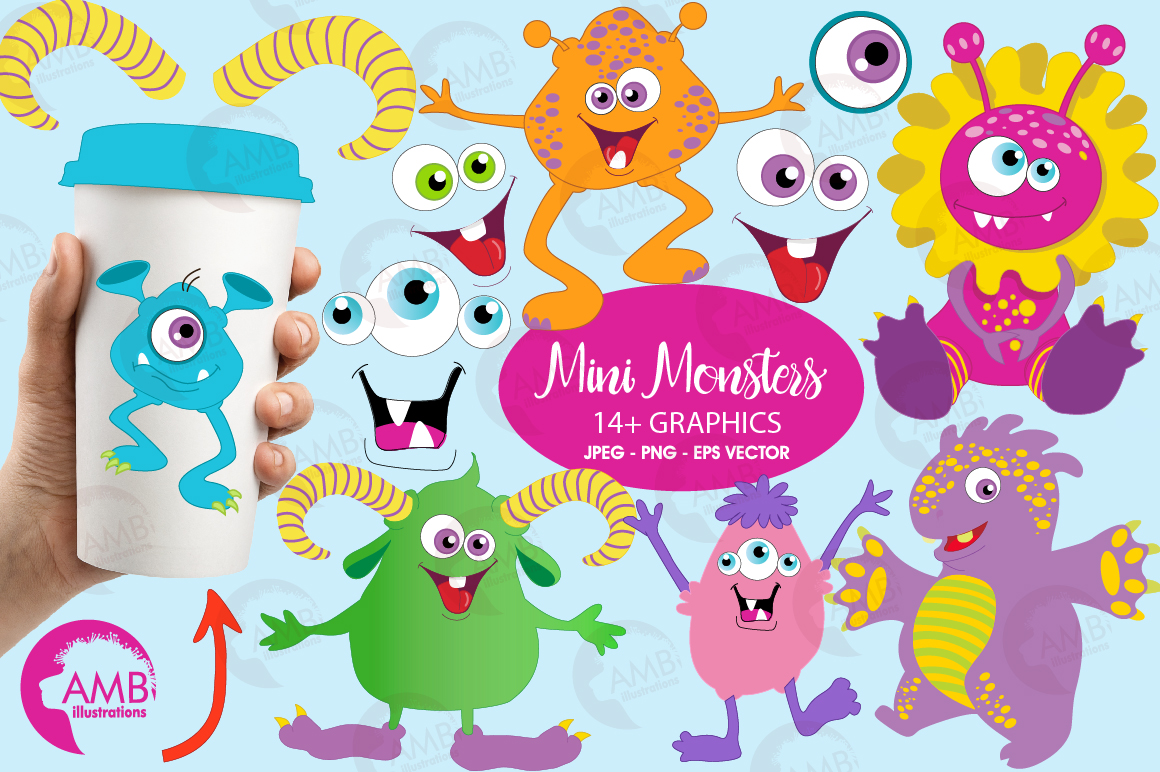 Mini monsters, cute monsters clipart, graphics and illustration AMB-552 example image 1