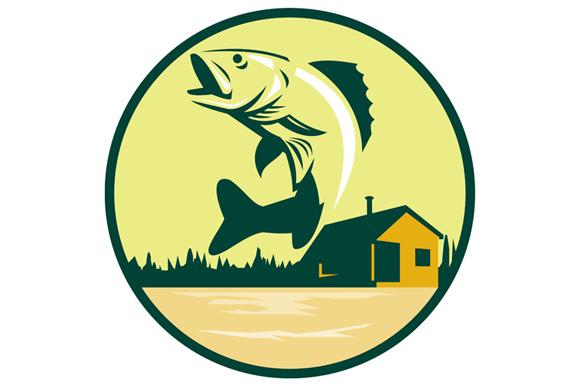 Walleye Fish Lake Lodge Cabin Circle Retro example image 1