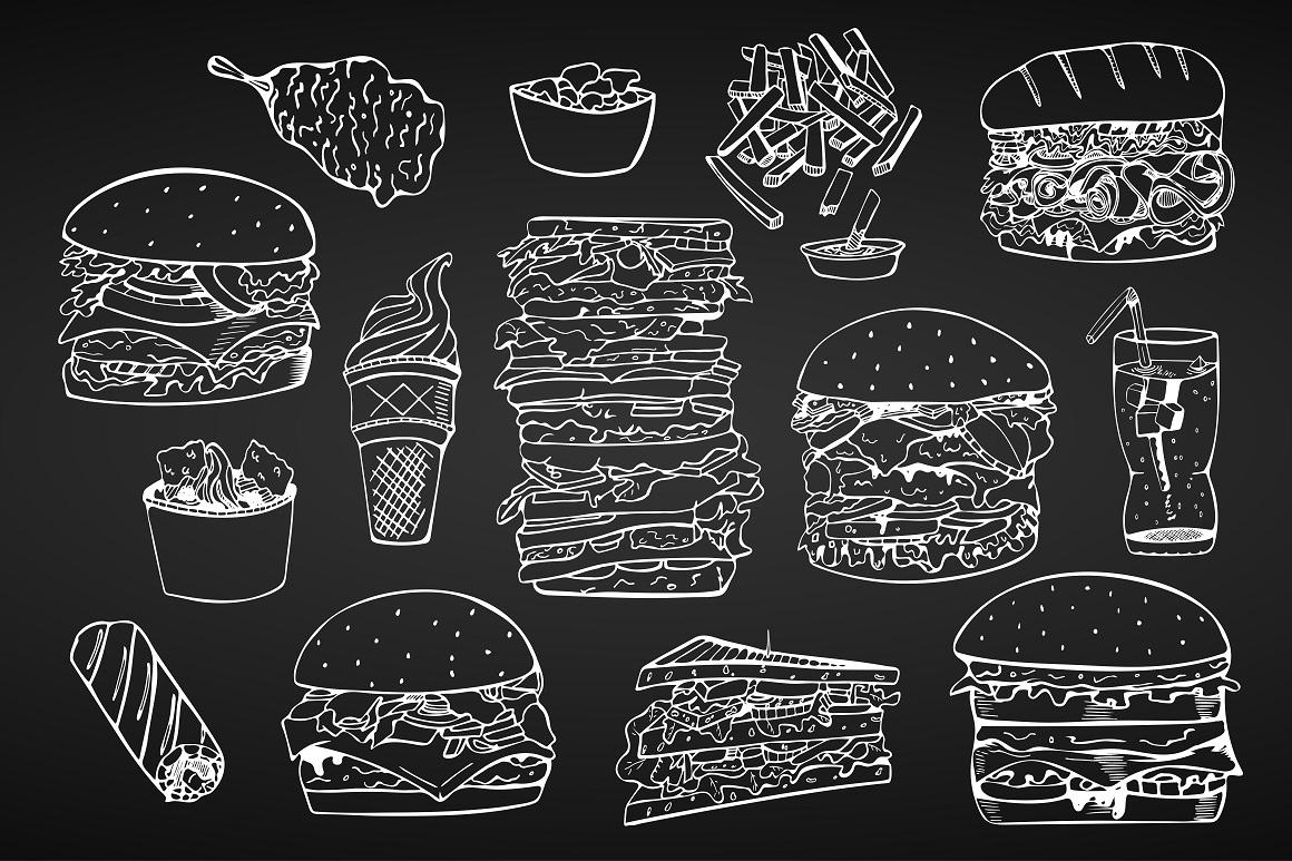 Fast food set. + Seamless patterns example image 5
