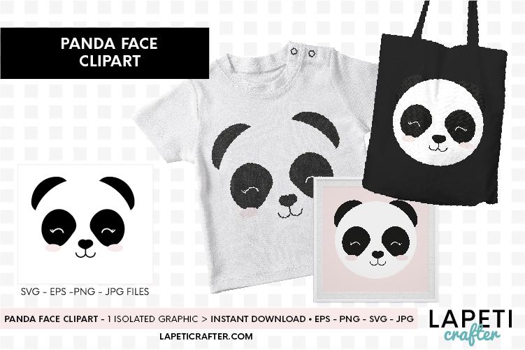 Panda face svg, eps, jpg, png, cute panda bear clipart example image 2