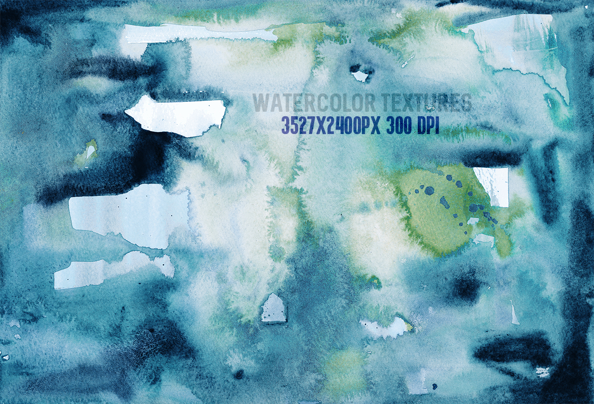 8 Teal watercolor textures, HQ 3527x2400px 300 DPI JPG example image 3