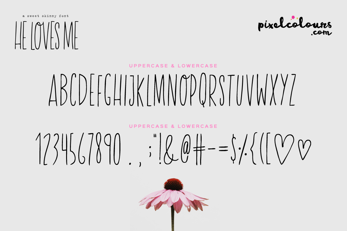 He Loves Me Skinny Font example image 5