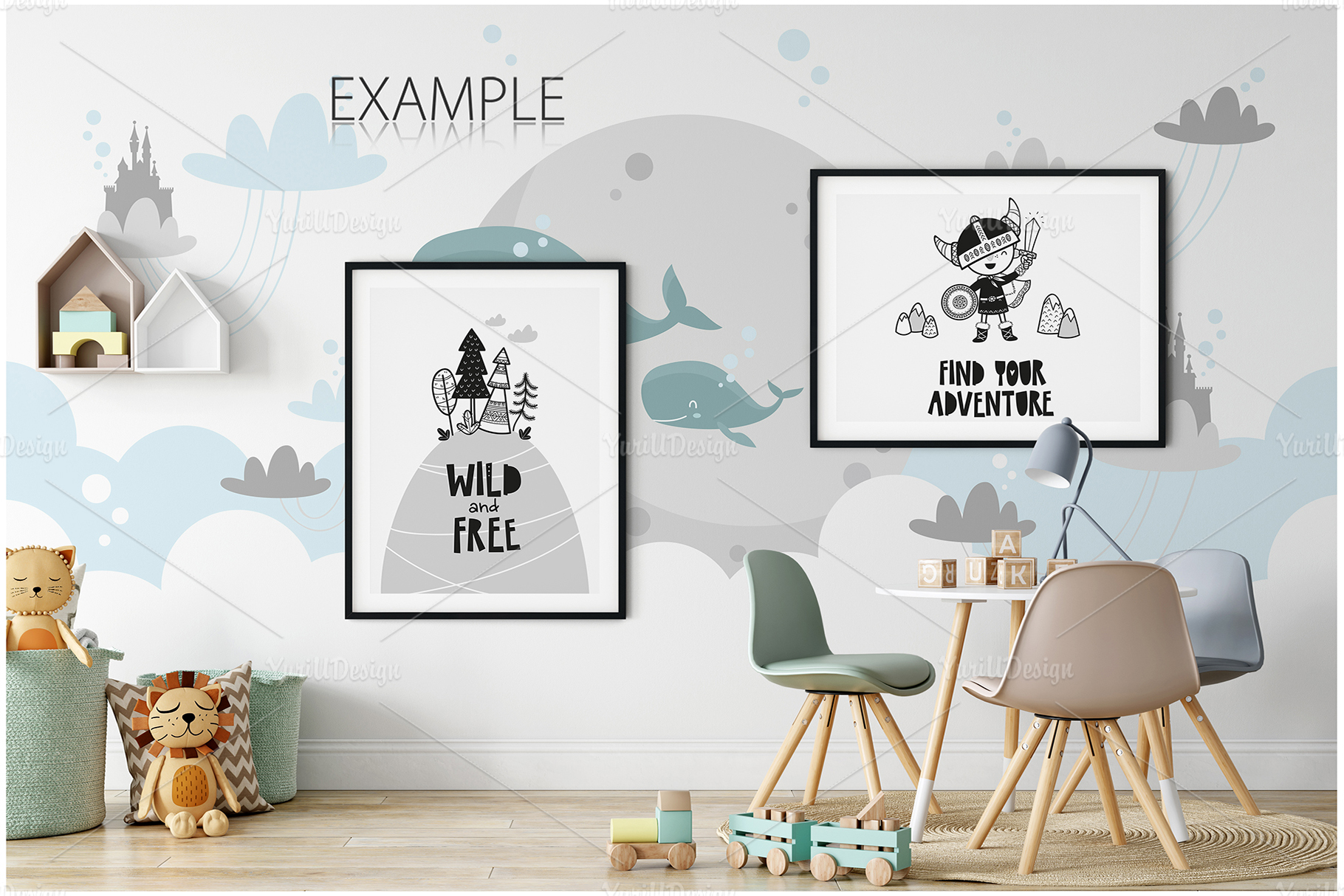 Kids Frames & Wall Mockup Bundle - 5 example image 5