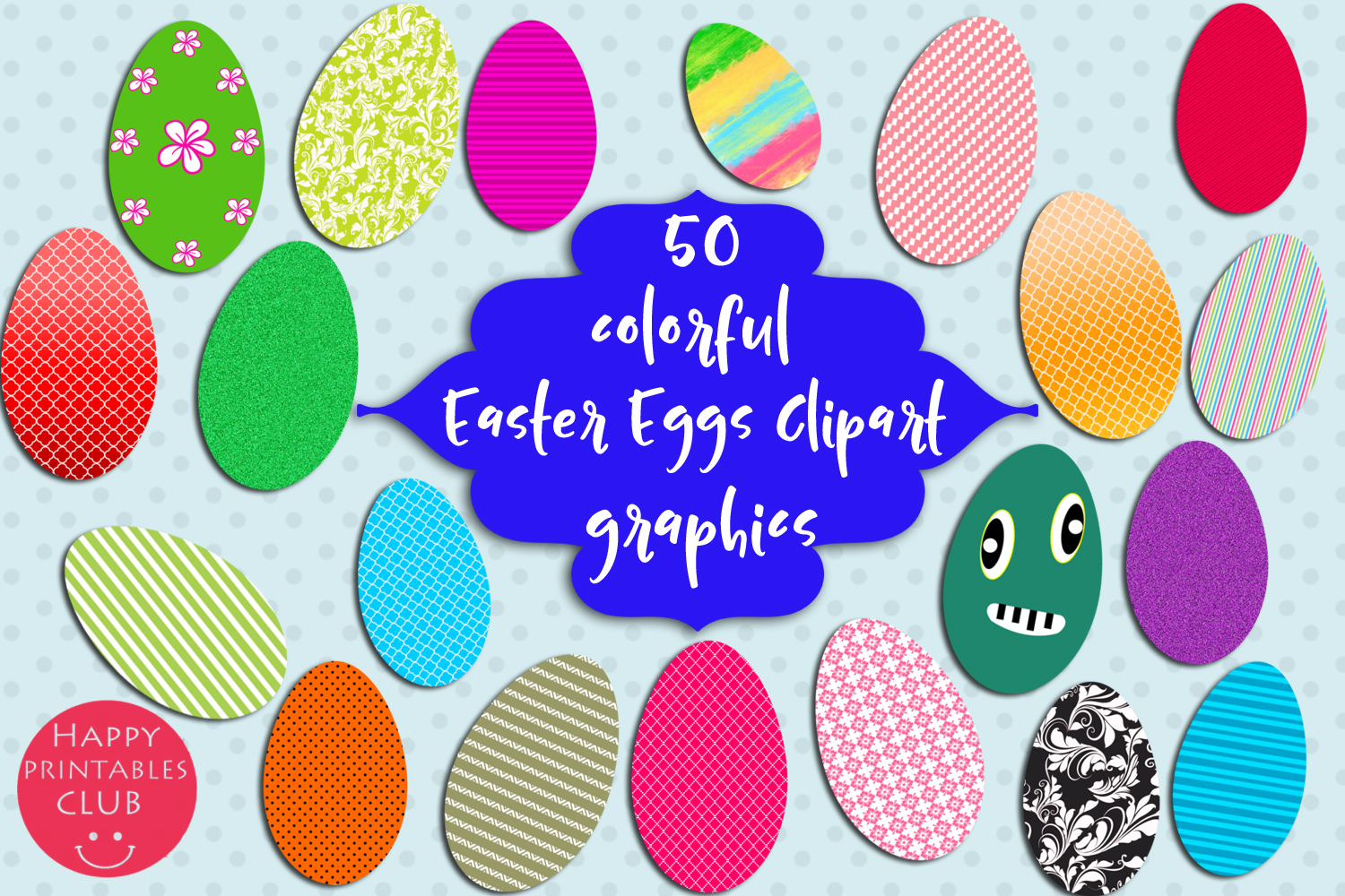 50 Colorful Easter Eggs Clipart-Cute Easter Eggs Clipart example image 2