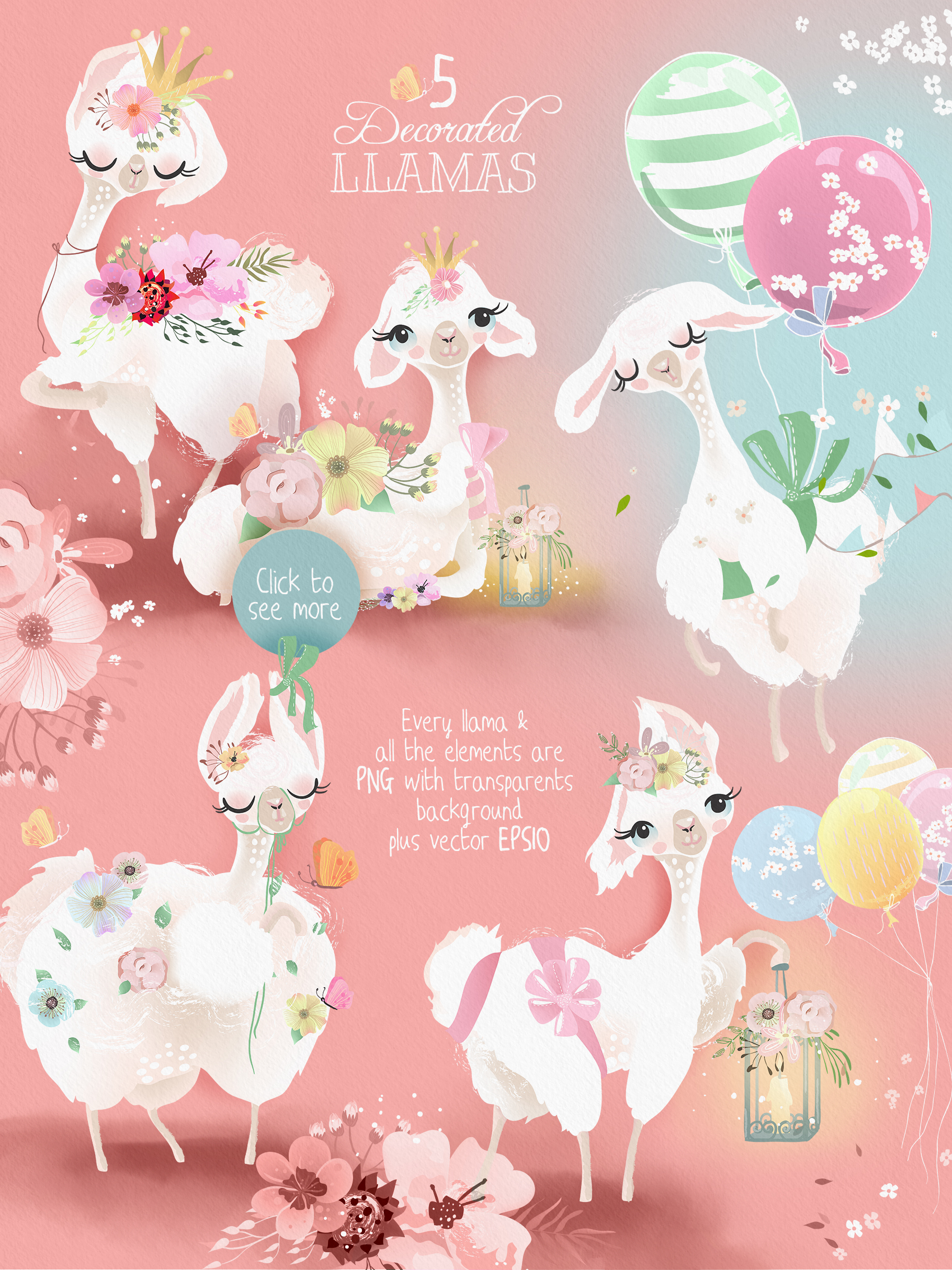 Fluffy Llamas Collection example image 2