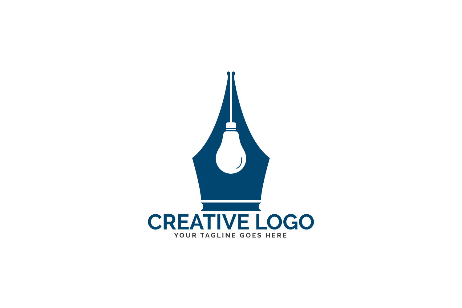 Pen Nib And Bulb Logo Idea. example image 2