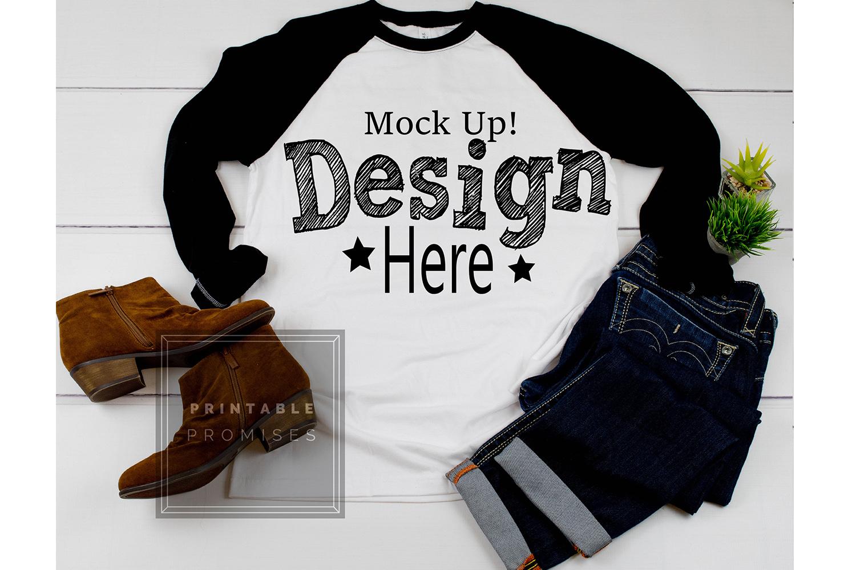 Next Level 6051 Black Raglan Mockup Baseball T-Shirt Mock Up example image 1
