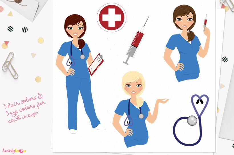 Nurse woman character clip art L373 Georgia example image 1