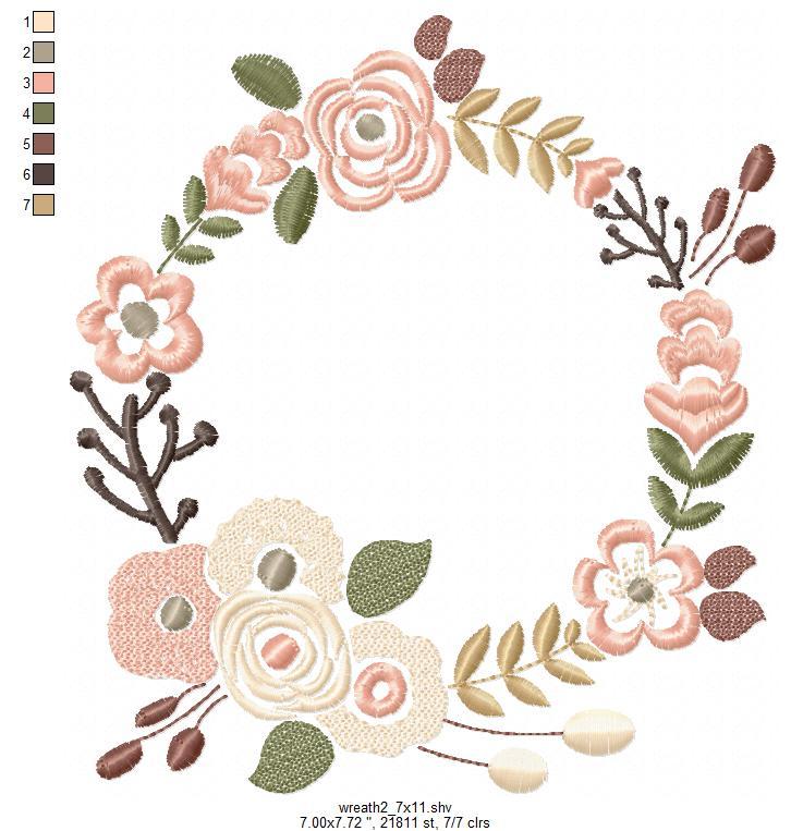 Floral Wreath Font Frame Monogram Design - EMBROIDERY DESIGN FILE - Instant download - Vp3 Hus Dst Exp Jef Pes formats 5 sizes 3,4,5,6,7inch example image 10