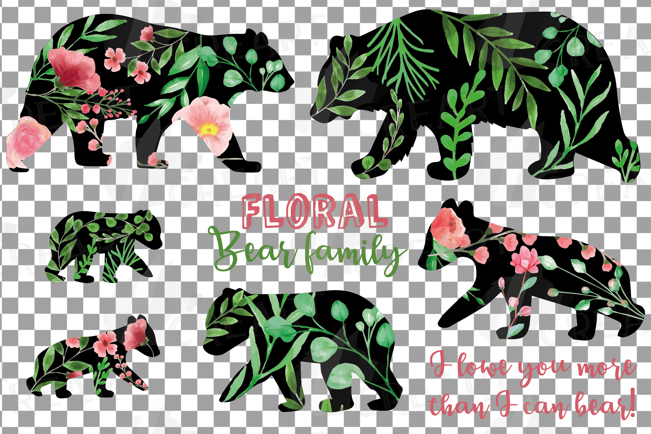 Floral bear family, sister, brother, baby, papa and mama example image 22