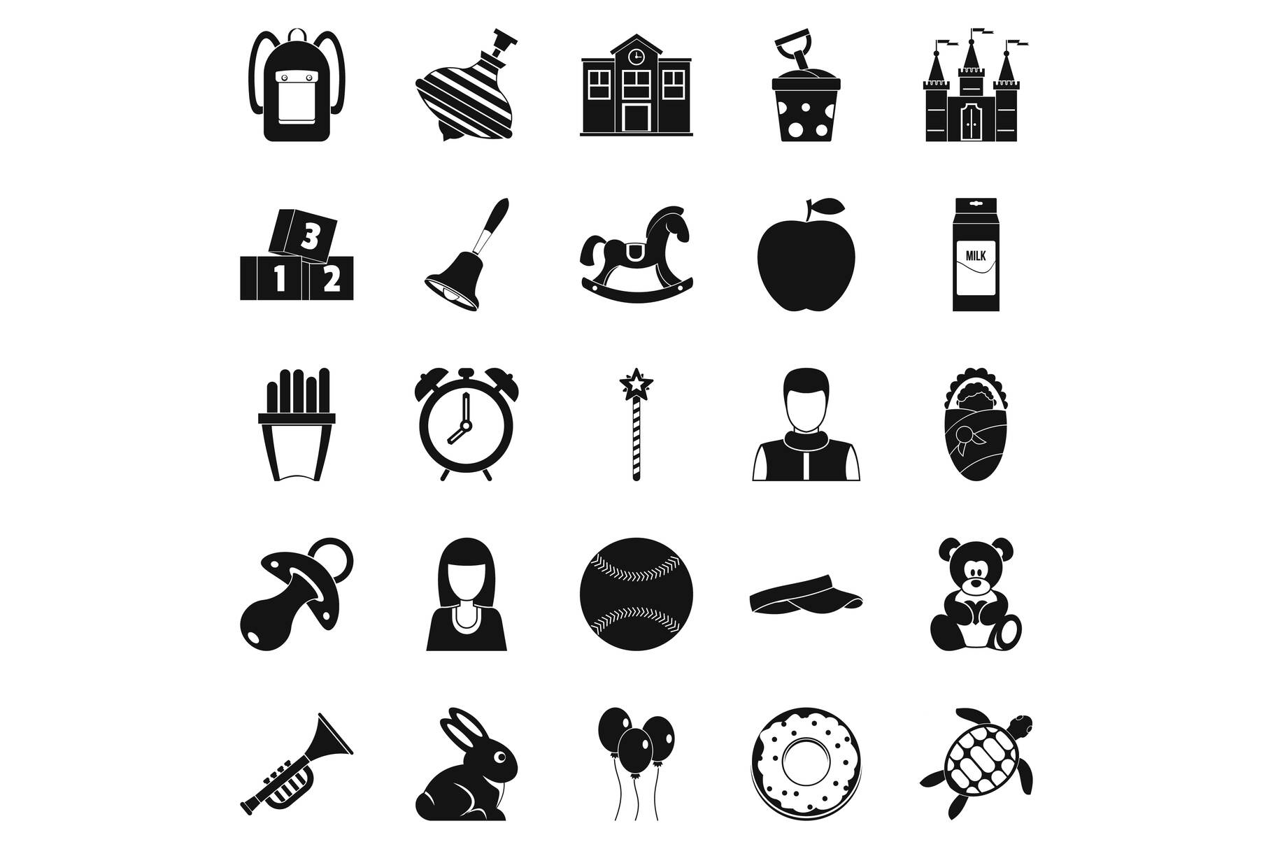Child center icons set, simple style example image 1