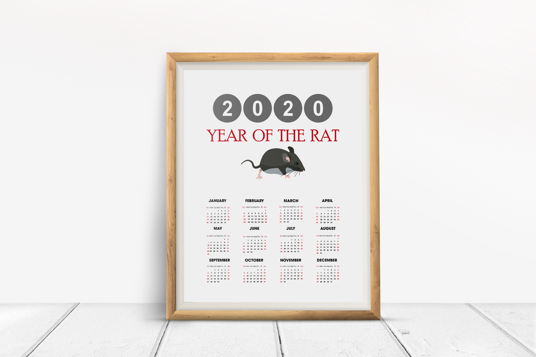 2020 Rat Yearly Calendar example image 2