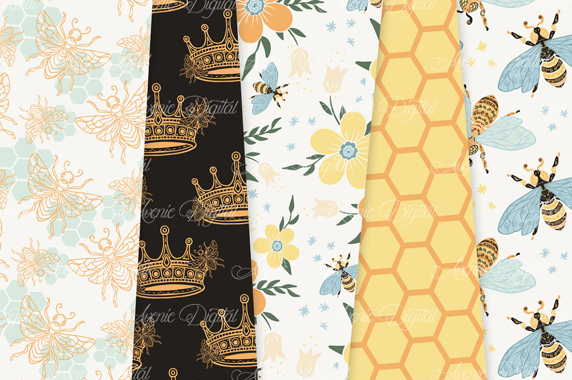Bee Garden Seamless Vector Patterns and Digital Papers example image 4