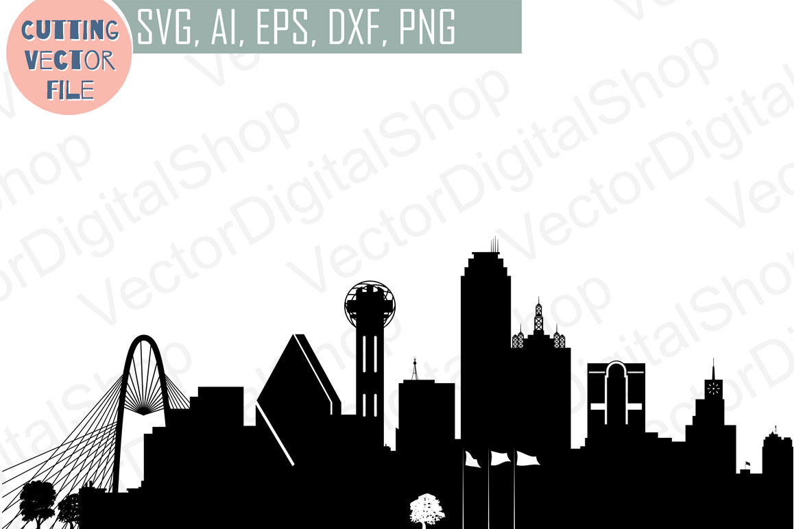 Dallas Skyline Vector, USA city, SVG, JPG, PNG, DWG, CDR, EPS, AI example image 1