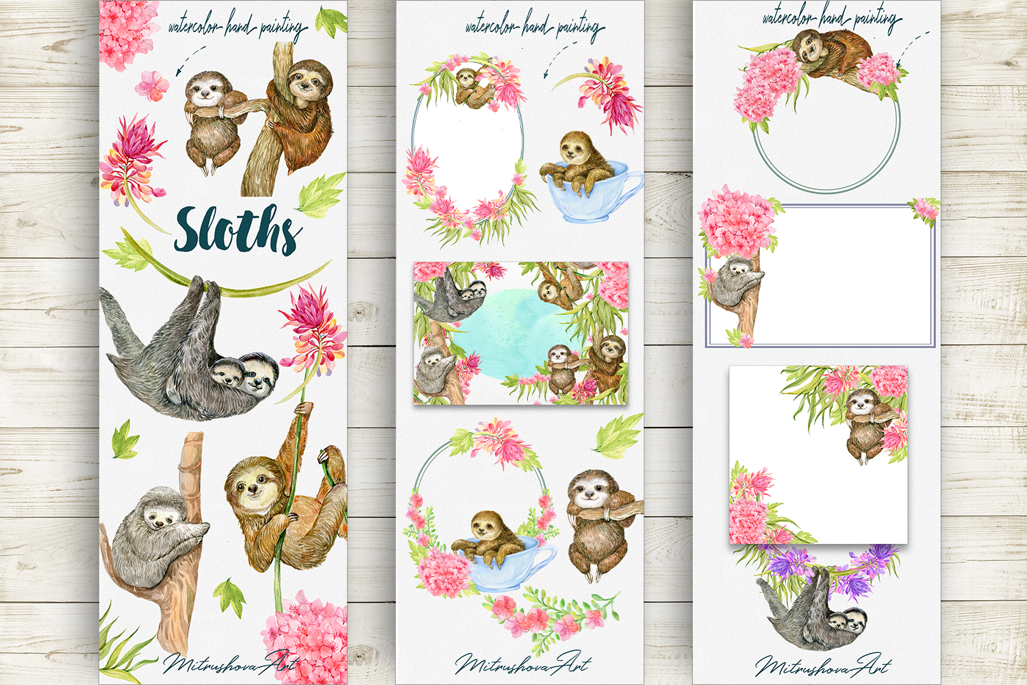 Sloth. Watercolor Clipart. example image 2