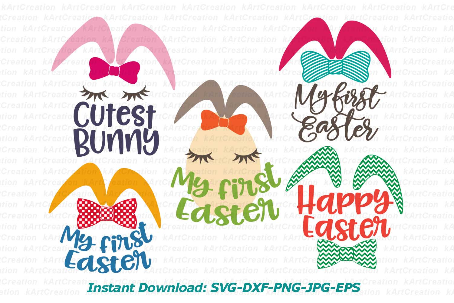 Bunny Ears eggs face bundle svg dxf toddler oneness cut file example image 4