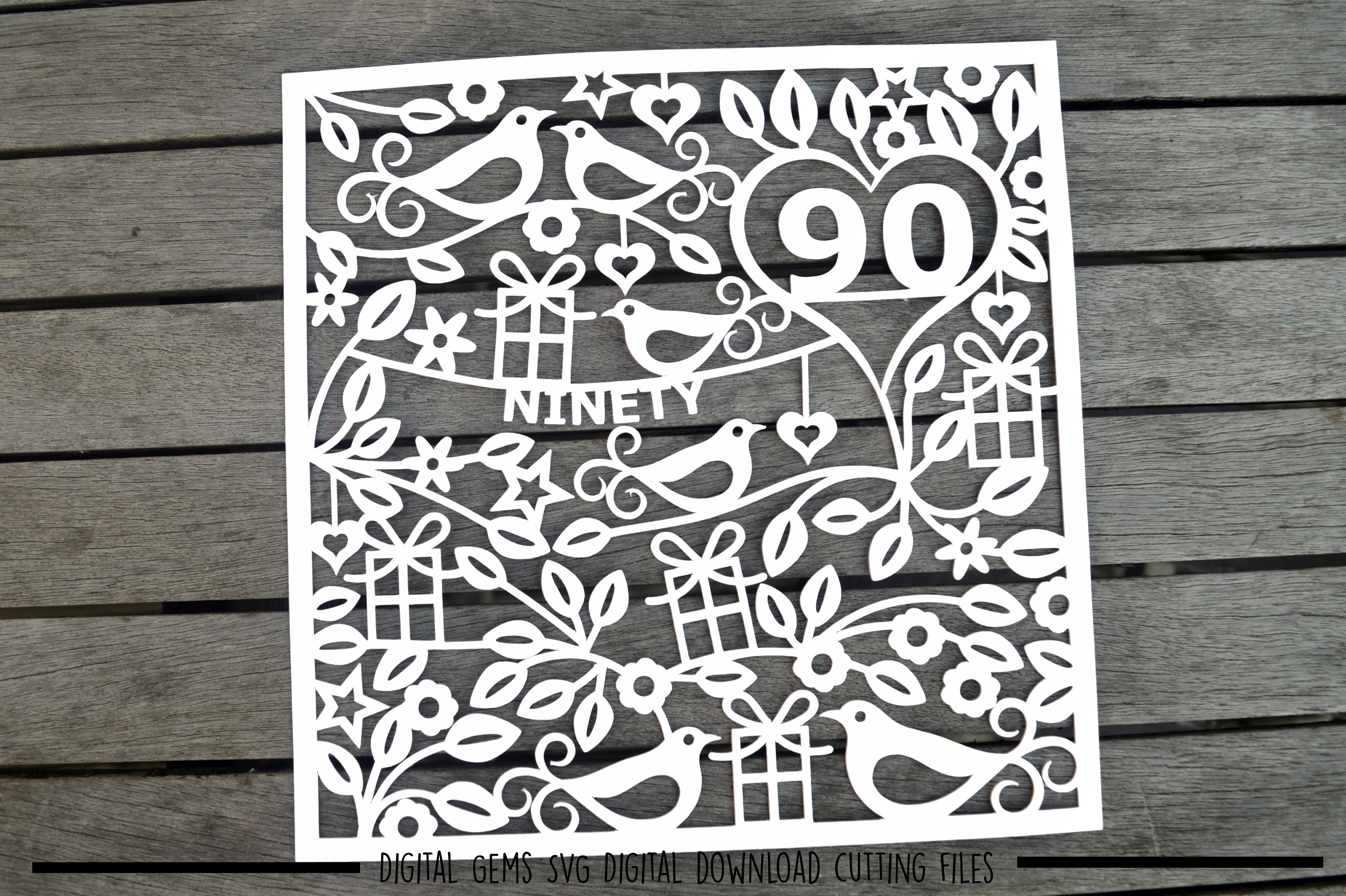Number 90 paper cut SVG / DXF / EPS files example image 2