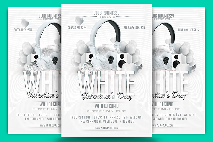 White Valentine Day Flyer Template & Facebook Cover example image 1
