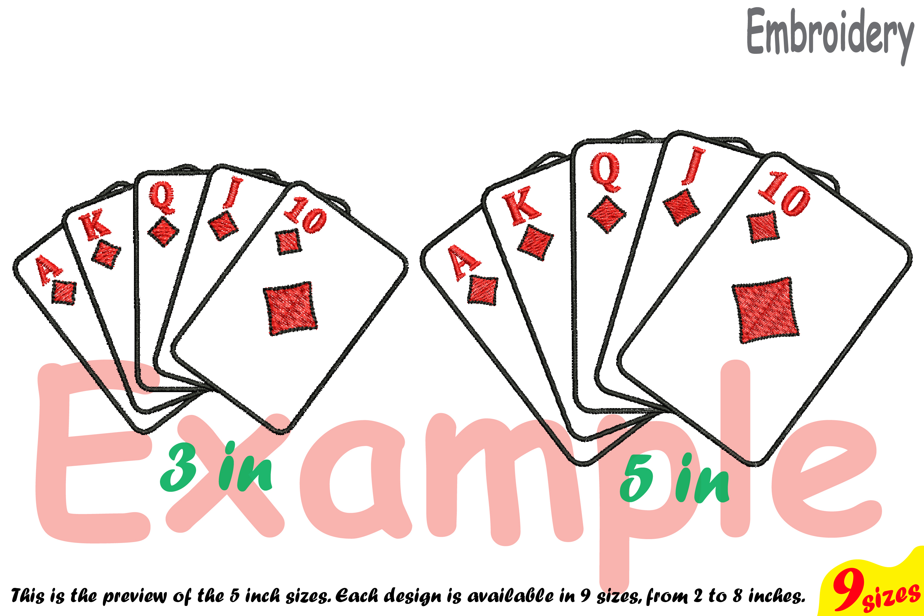 Poker Royal Flush Designs for Embroidery Machine Instant Download Commercial Use digital file 4x4 5x7 hoop symbol sign casino las vegas 196b example image 3
