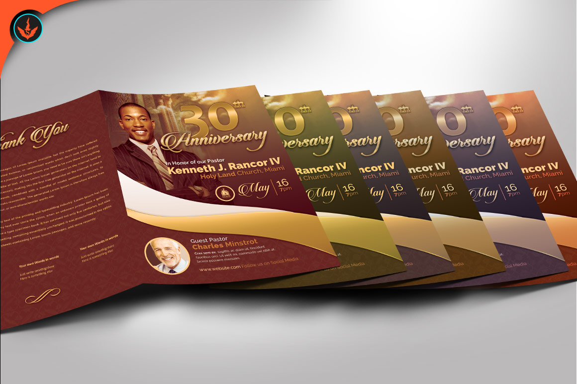 Gold Pastor's Anniversary Program Photoshop, Word, Publisher example image 4