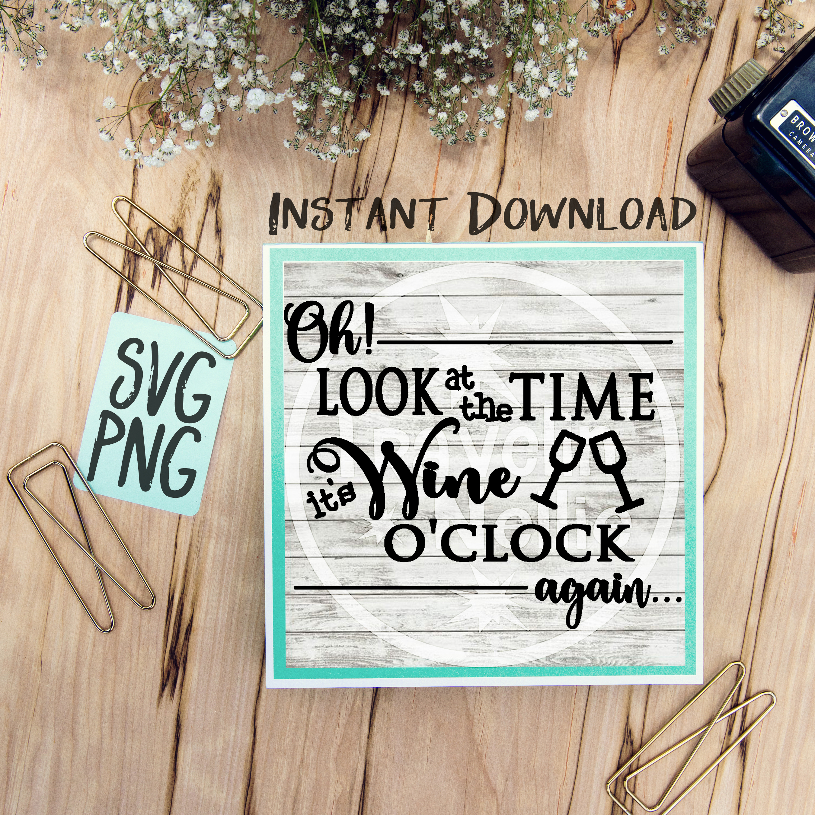 Oh Look Its Wine O'Clock Again SVG Image Design for Vinyl Cutters Print DIY Shirt Design Wine Lovers example image 1