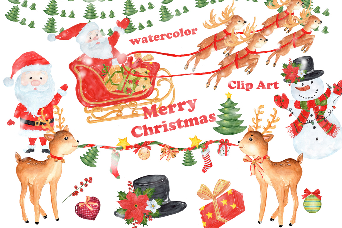 Bundle Watercolor Christmas Kids Clipart example image 5