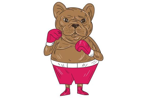 French Bulldog Boxer Boxing Stance Cartoon example image 1
