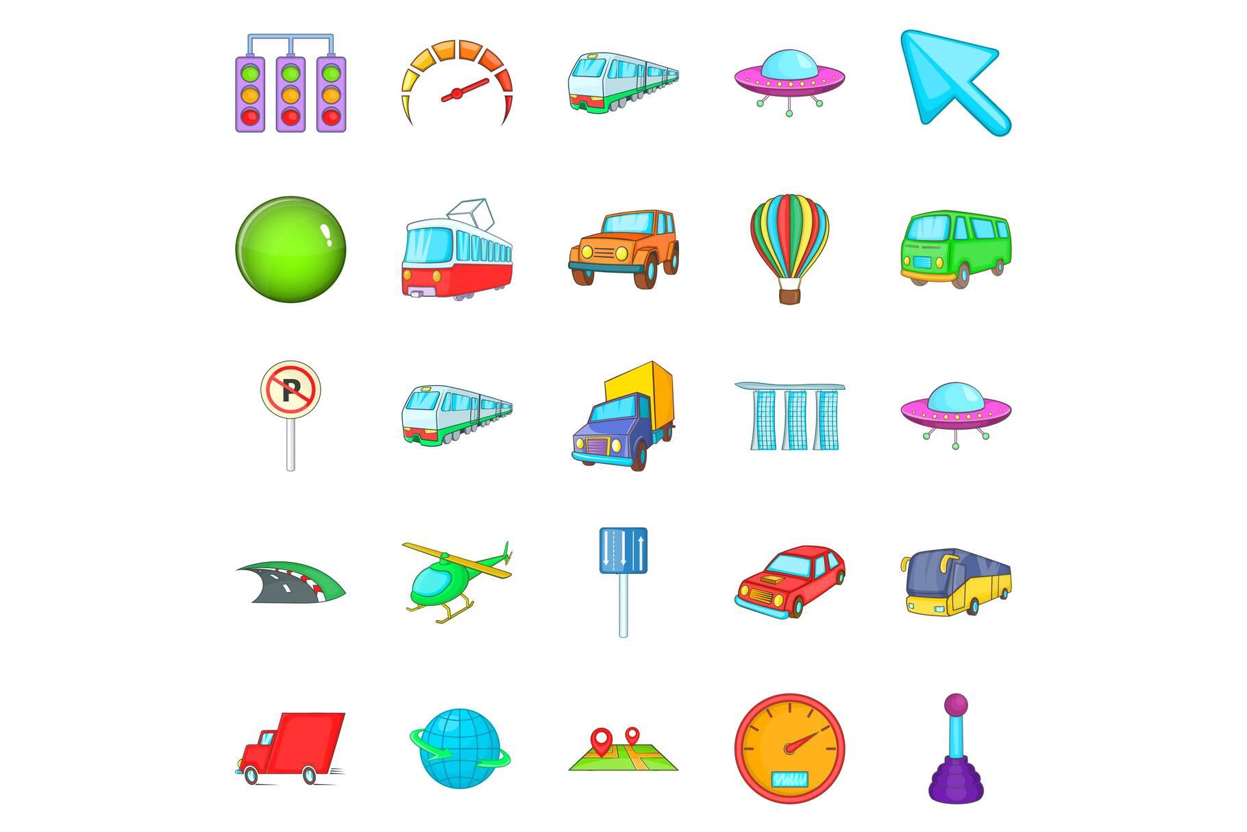 City navigation icons set, cartoon style example image 1