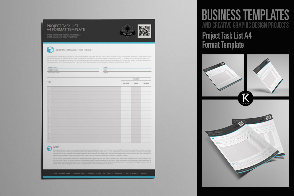Project Task List A4 Format Template example image 1