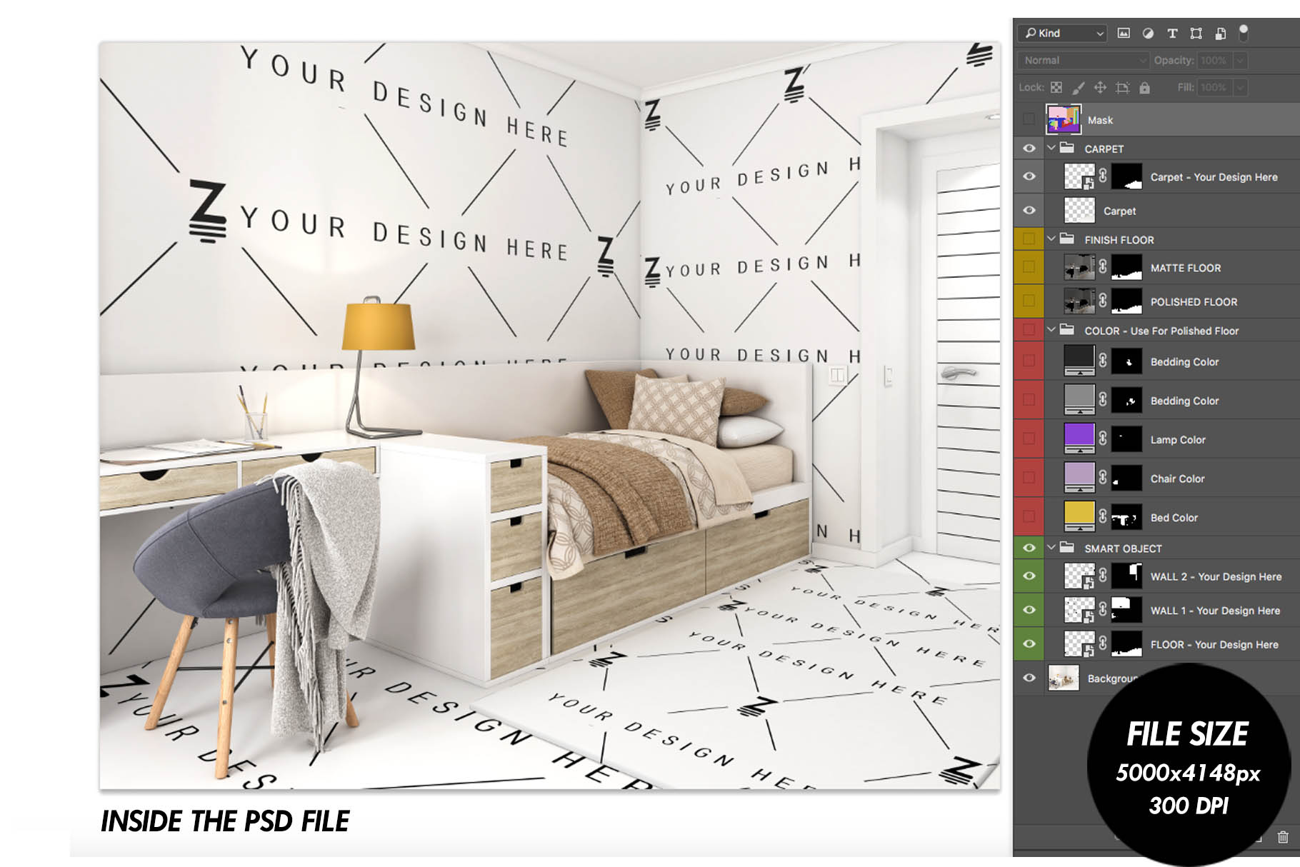 Wallpaper, floor and carpet Mockup Kids Bedroom SM62 example image 4