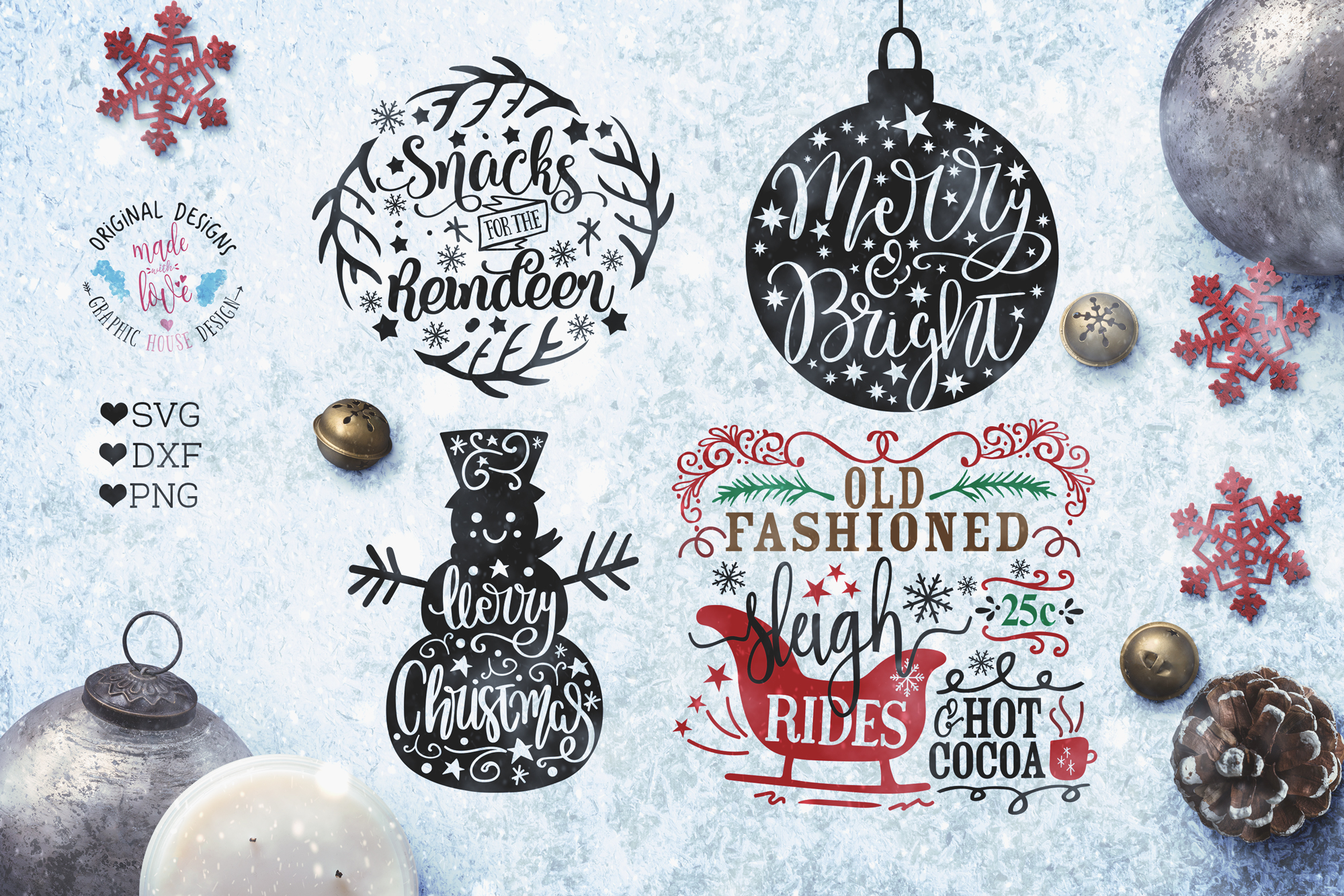 Christmas Bundle - Christmas Cut Files Bundle SVG, DXF, PNG example image 4