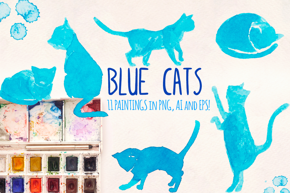 11 Blue Cat Silhouette Watercolor Graphics example image 1