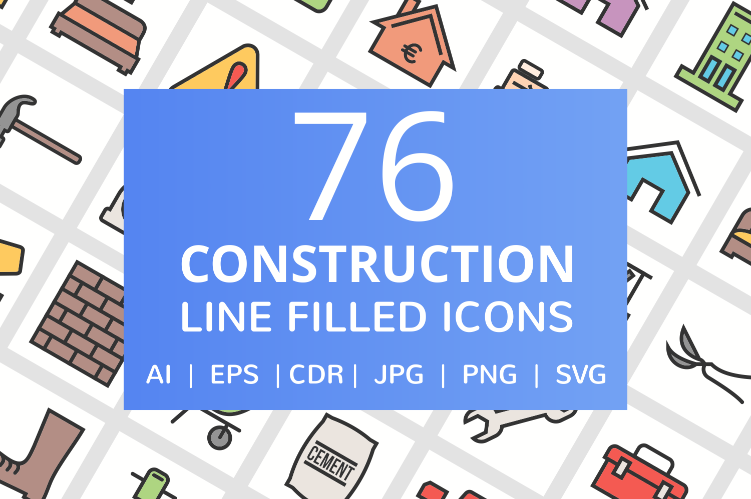 76 Construction Filled Line Icons example image 1