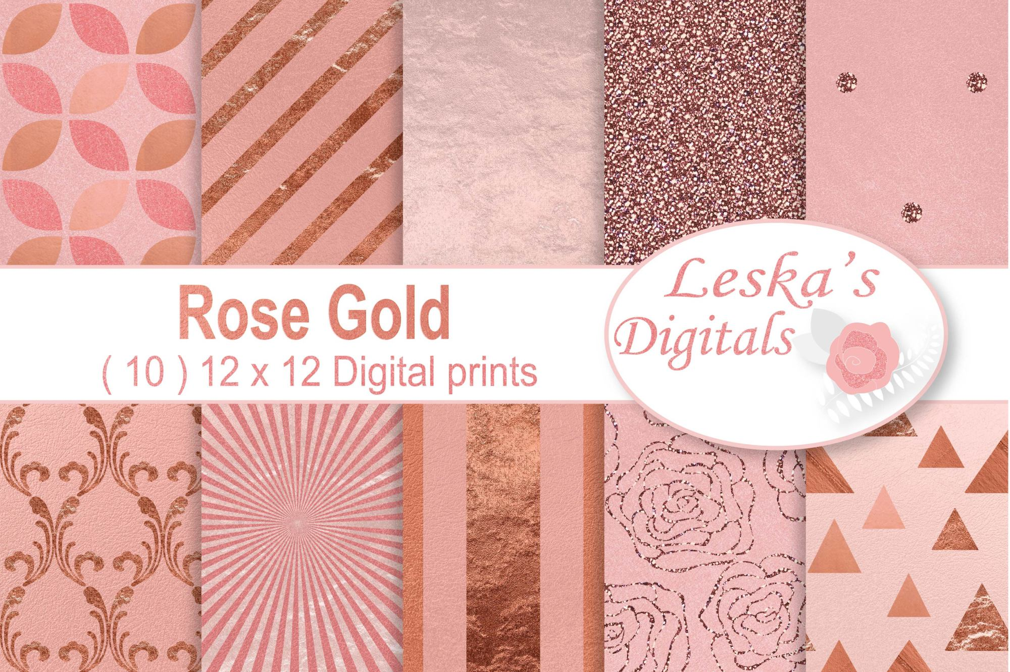 Rose Gold Digital Paper - Rose Gold Texture example image 1