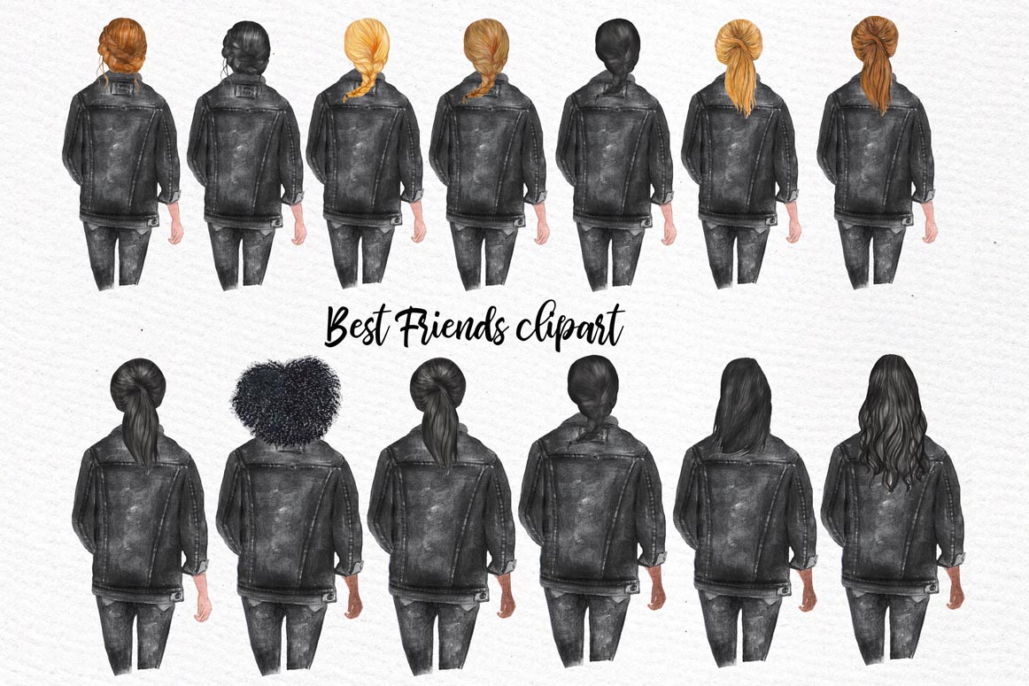 Best Friends Clipart,SOUL SISTERS CLIPART, Bff clipart, example image 4