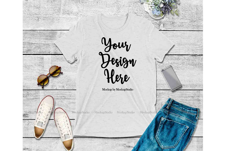 White Shirt Mock Up, Bella Canvas 3413 Tshirt Mockup Display example image 1