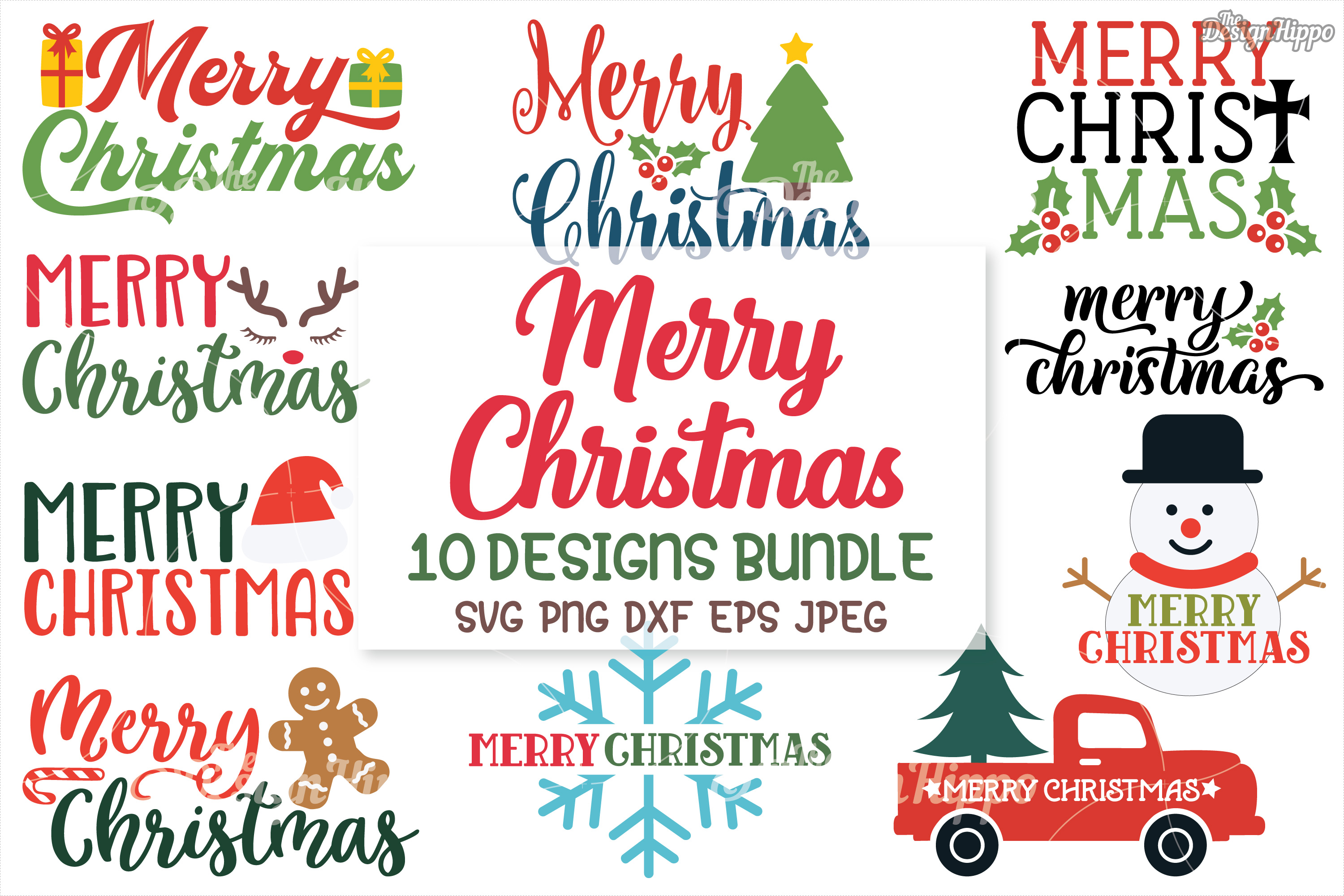 Merry Christmas SVG Bundle, Christmas SVG, PNG, DXF Cut File example image 1