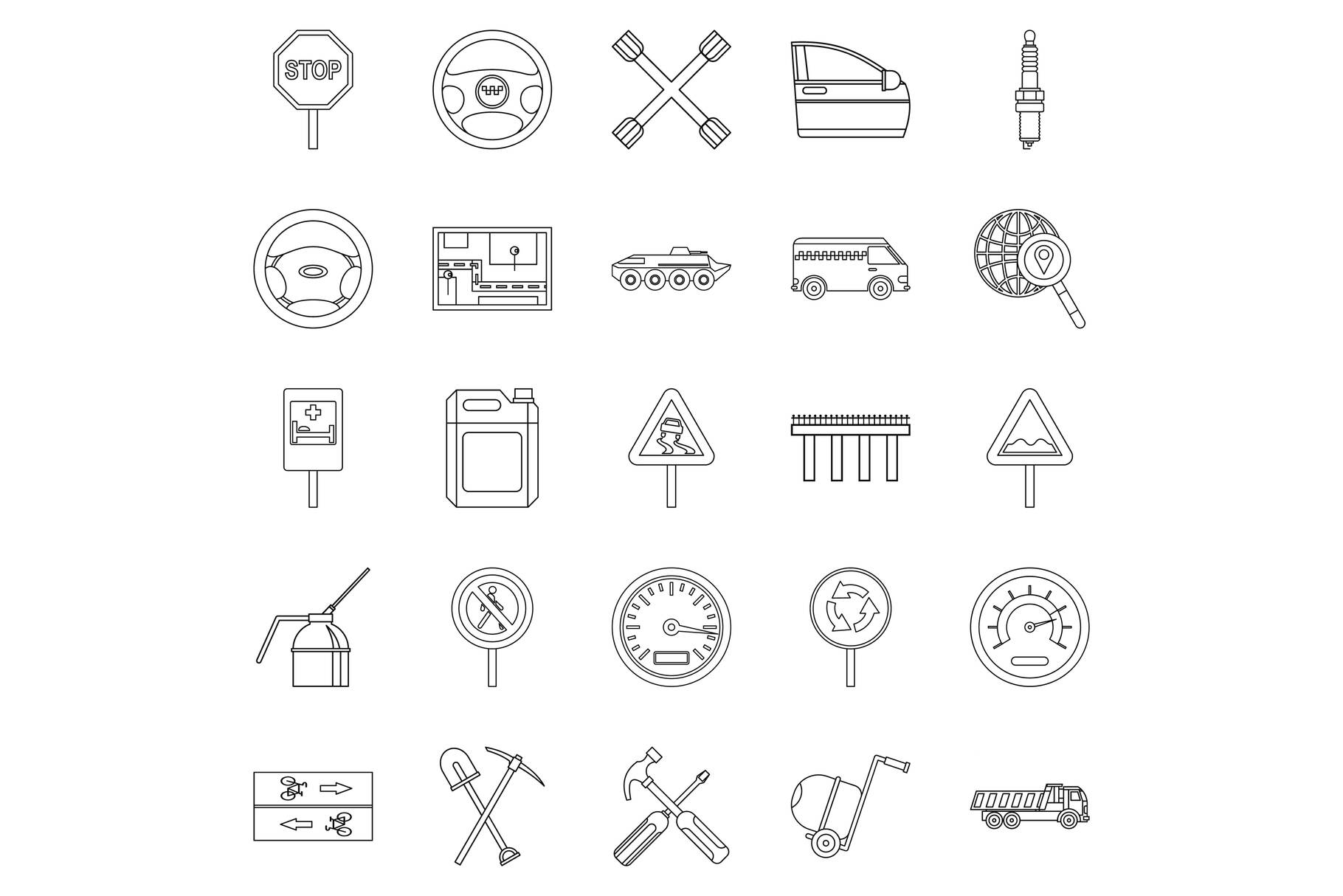 Apparatus icons set, outline style example image 1