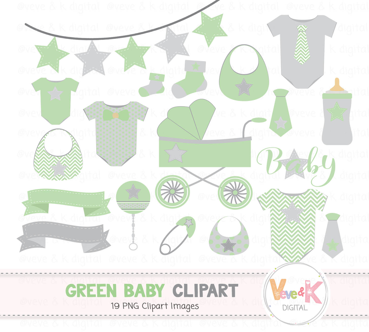 Green Baby Clipart Gender Neutral Baby Clipart Baby Shower Clipart