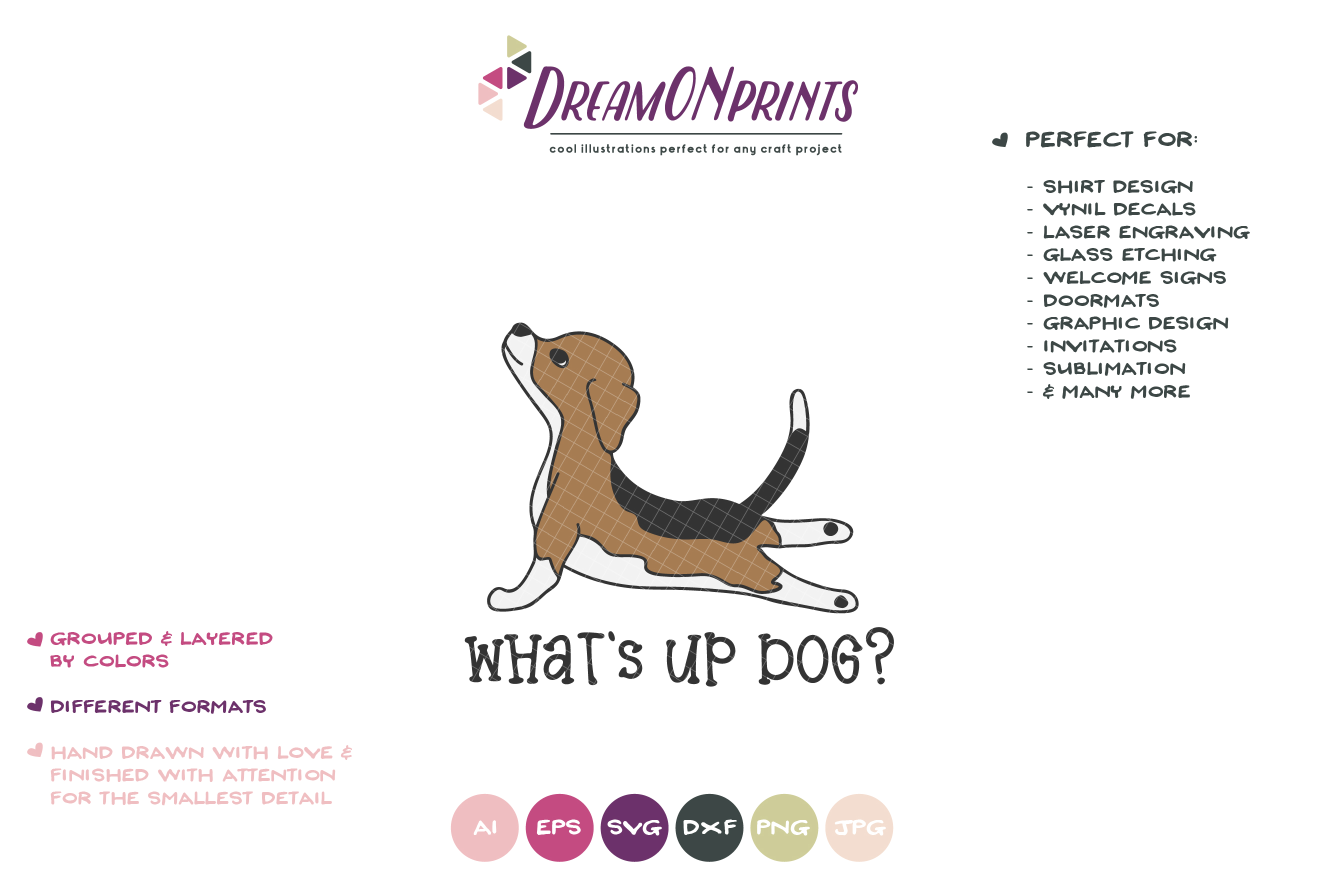 Yoga Dog SVG | Yoga Poses Up Dog | Beagle Illustration example image 2