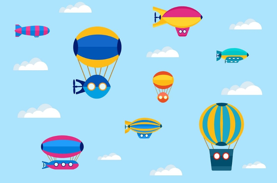 Set of a colorful cute balloon example image 2