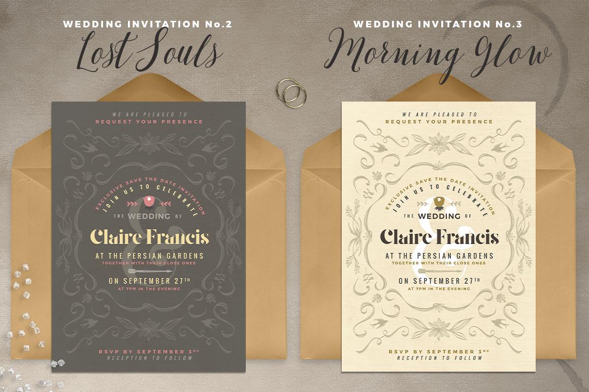 7 Vintage Deco Wedding Invitations I example image 3