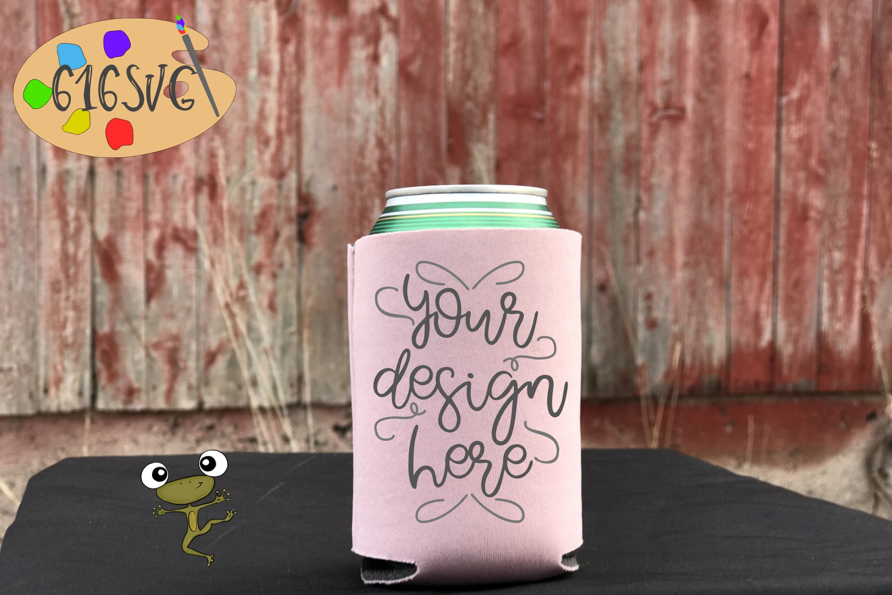Dusty Rose Can Cooler Mockup example image 1