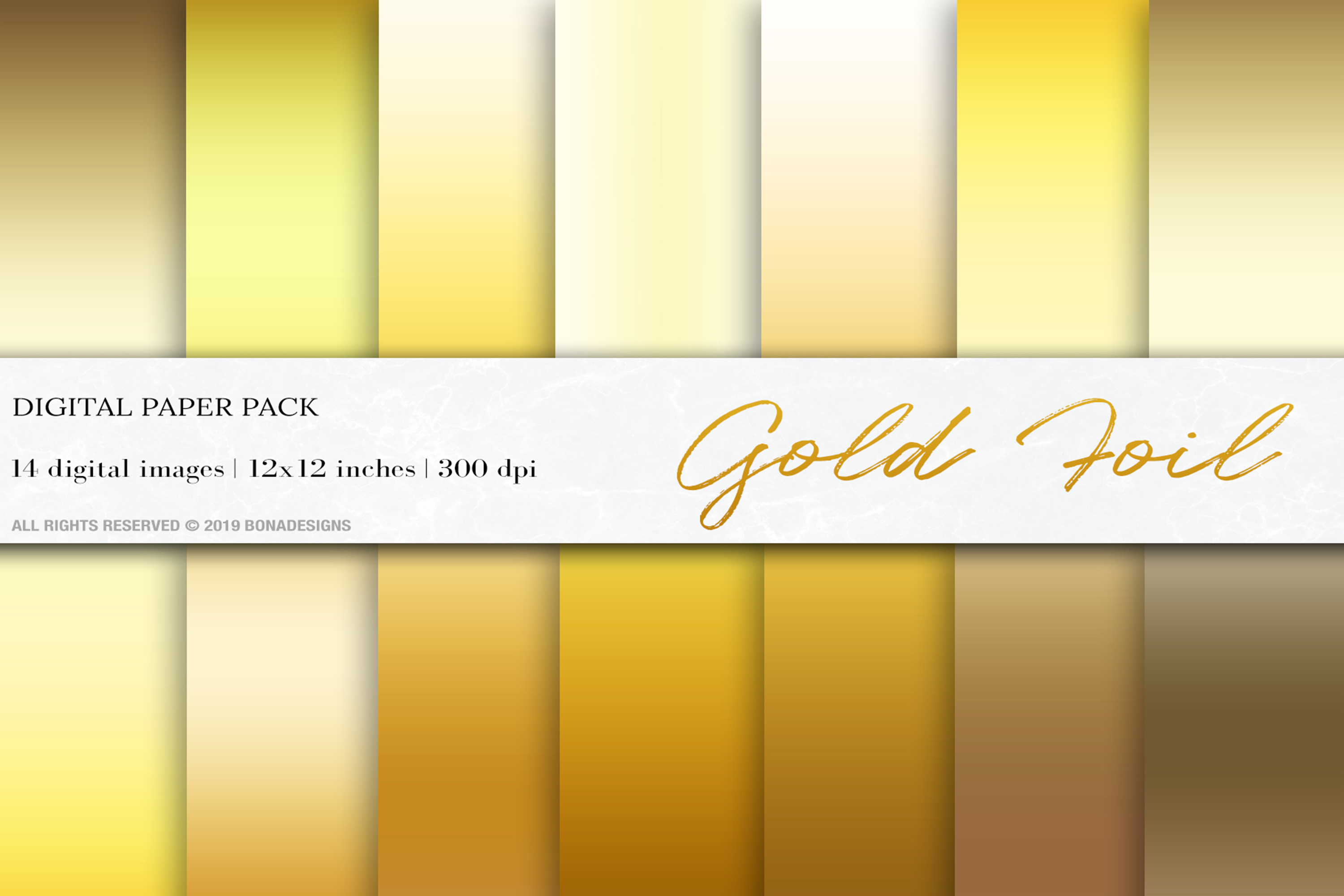 Gold Foil Background, Gold Gradient Digital Papers example image 1