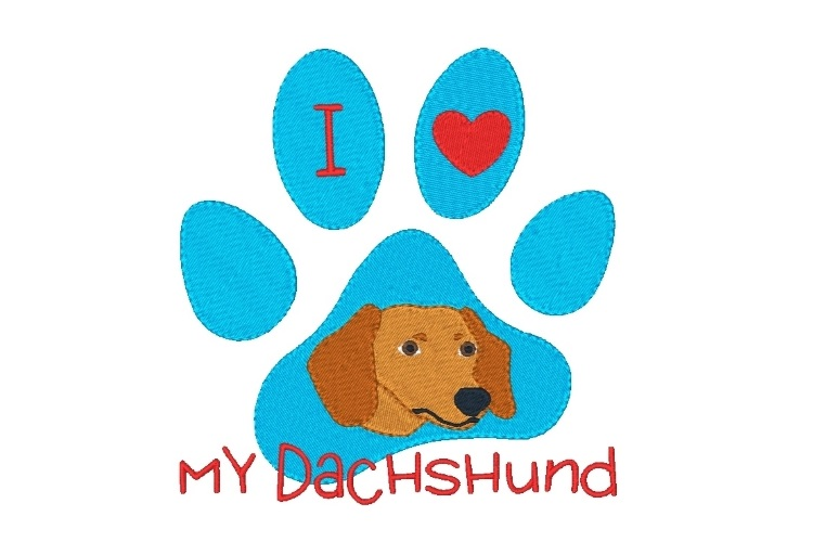 Dachshund Paw Print Machine Embroidery Design Set of 2 example image 3