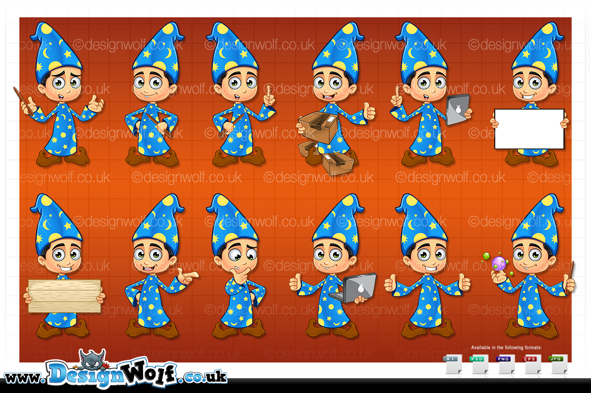 Boy Wizard In Blue - In 12 Poses example image 2