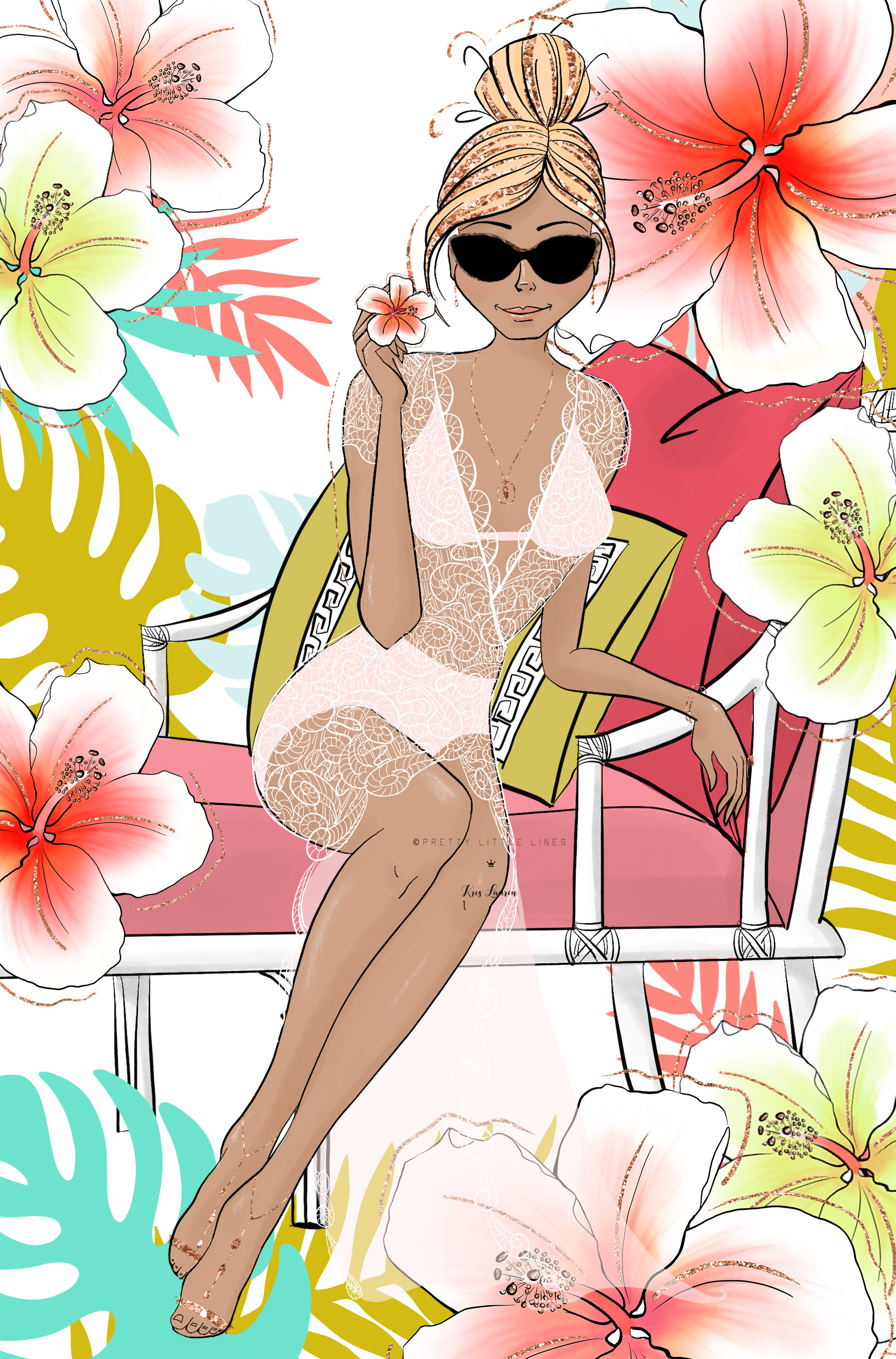Tropical Summer Girls Clip Art example image 13