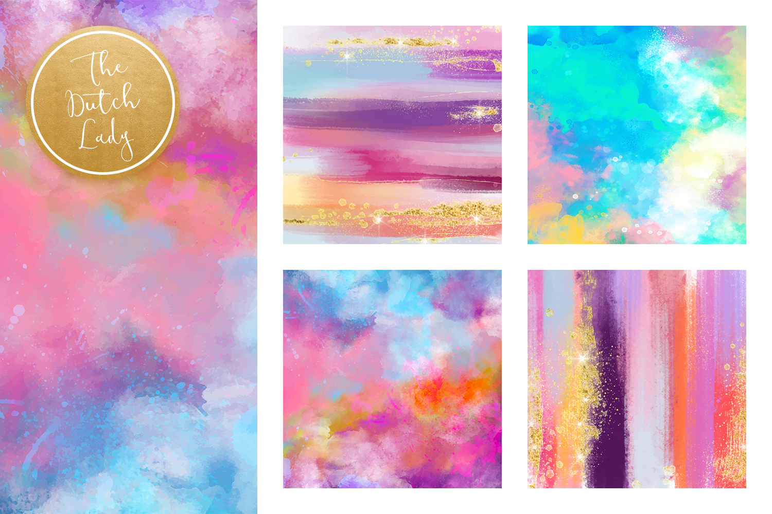 Colorful Brush Strokes & Stains Background Textures example image 2